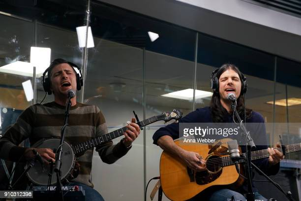 Scott Avett and Seth Avett perform during SiriusXM Town Hall With Judd Apatow Michael Bonfiglio The Avett Brothers Hosted By Kurt Loder at SiriusXM...
