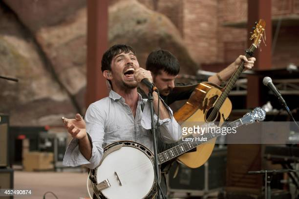 Scott Avett and Seth Avett performing with the 'Avett Brothers' at Red Rocks Amplitheater in Morrison Colorado on September 2 2010