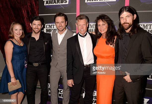 Scott Avett Chip Esten Randy Travis Mary Beougher and Seth Avett of The Avett Brothers at the 2013 CMT Music Awards at the Bridgestone Arena on June...