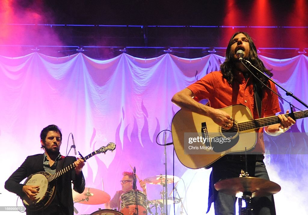 Scott Avett, Mike Marsh, and Seth Avett of Avett Brothers perform at Verizon Wireless Amphitheater on May 17, 2013 in Alpharetta, Georgia.