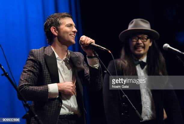 Scott Avett of The Avett Brothers performs during HBO's 'May It Last A Portrait of the Avett Brothers' NYC premiere on January 24 2018 in New York...