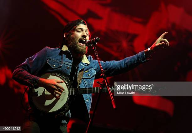 Scott Avett of the Avett Brothers performs onstage during day one of the Boston Calling Music Festival at Boston City Hall Plaza on September 25 2015...