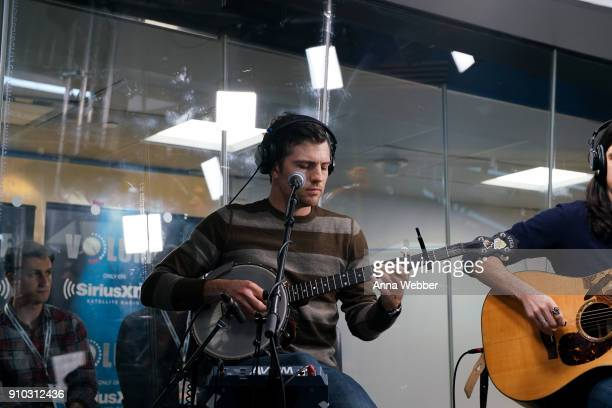 Scott Avett performs during SiriusXM Town Hall With Judd Apatow Michael Bonfiglio The Avett Brothers Hosted By Kurt Loder at SiriusXM Studios on...