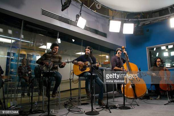 Scott Avett Seth Avett Bob Crawford and Joe Kwon perform during SiriusXM Town Hall With Judd Apatow Michael Bonfiglio The Avett Brothers Hosted By...