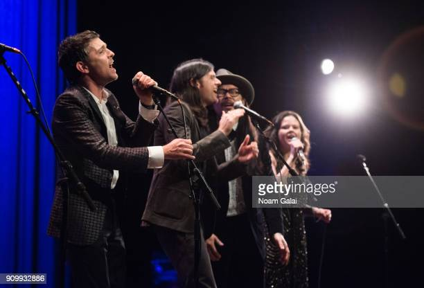 Scott Avett Seth Avett Joe Kwon and Tania Elizabeth of The Avett Brothers perform during HBO's 'May It Last A Portrait of the Avett Brothers' NYC...