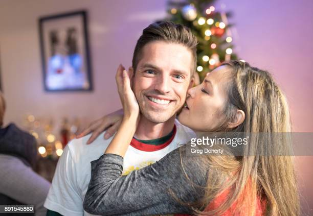 Scott Bailey and Terri Ivens attend The Bay Ugly Sweater And Secret Santa Christmas Party at Private Residence on December 12 2017 in Los Angeles...