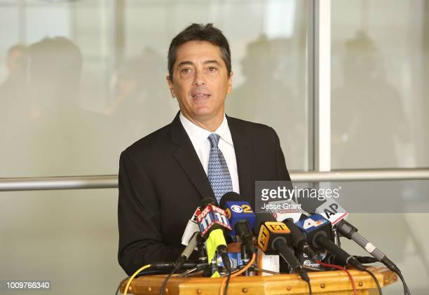 Scott Baio attends a news conference to discuss harassment allegations on August 2 2018 in Woodland Hills California