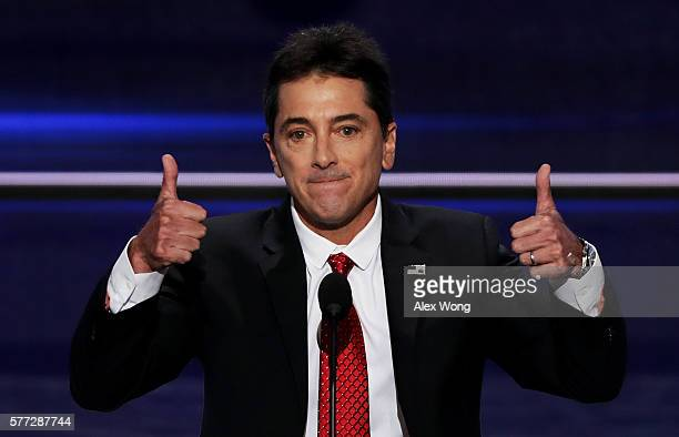 Scott Baio gives two thumbs up during his speech on the first day of the Republican National Convention on July 18 2016 at the Quicken Loans Arena in...