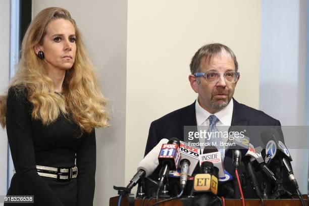 Scott Baio's Lawyer XXXX speaks during a press conference regarding sexual harassment allegation on February 14 2018 in Los Angeles California Baio...