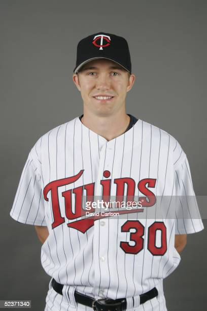 Scott Baker of the Minnesota Twins poses for a portrait during photo day at Hammond Stadium on February 28 2005 in Ft Myers Florida
