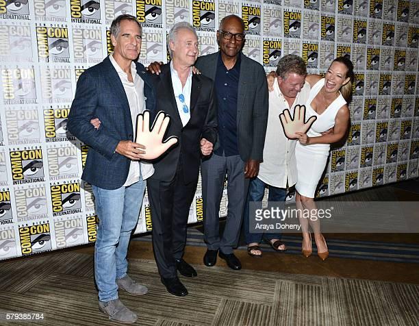 Scott Bakula Brent Spiner Michael Dorn William Shatner and Jeri Ryan attend the Star Trek 50 press line at ComicCon International 2016 Day 3 on July...