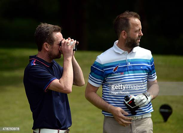 Scott Barbour and Michael Ramsden during the Golfbreakscom PGA Fourball Championship North Qualifier at Woodsome Hall Golf Course on June 24 2015 in...
