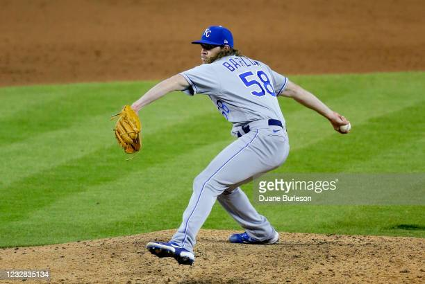 Scott Barlow of the Kansas City Royals pitches against the Detroit Tigers during the ninth inning at Comerica Park on May 11 in Detroit, Michigan....