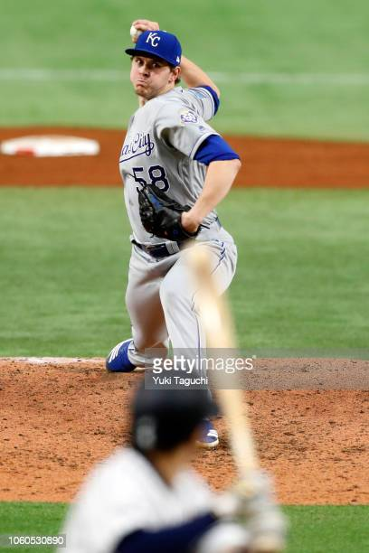 Scott Barlow of the Kansas City Royals pitches during the Japan AllStar Series game against Team Japan at the Tokyo Dome on Sunday November 11 2018...