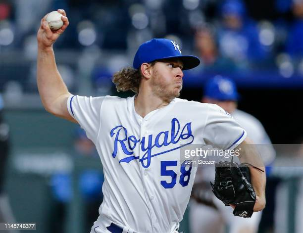 Scott Barlow of the Kansas City Royals pitches in the sixth inning during the game against the Los Angeles Angels of Anaheim at Kauffman Stadium on...
