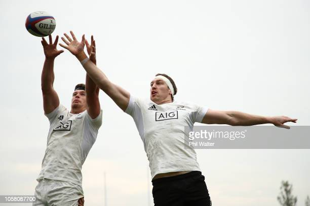 Scott Barrett and Brodie Retallick off the All Blacks jump in the lineout during a New Zealand All Blacks training session at The Lensbury on...