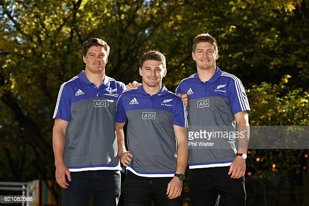 Scott Barrett Beauden Barrett and Jordie Barrett the three brothers who are travelling with the All Black squad in their November Northern Tour pose...