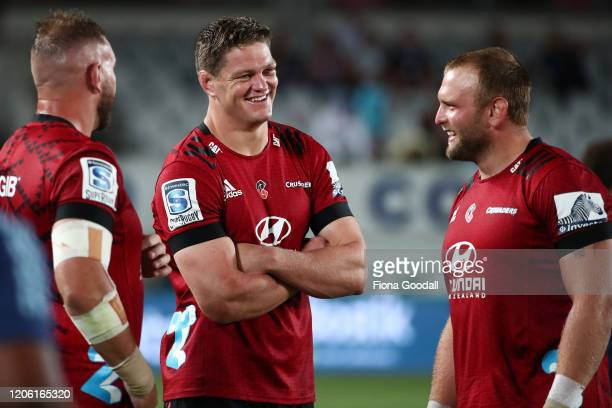Scott Barrett captain of the Crusaders after the match with Joe Moody during the round 3 Super Rugby match between the Blues and the Crusaders at...