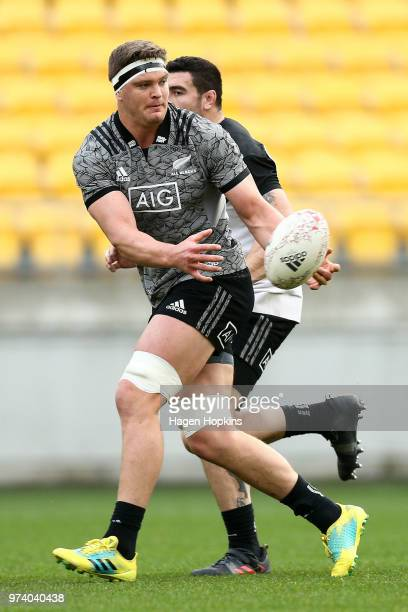 Scott Barrett in action during a New Zealand All Blacks training session at Westpac Stadium on June 14 2018 in Wellington New Zealand