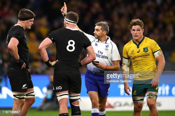 Scott Barrett of New Zealand is shown the red card during the 2019 Rugby Championship Test Match between the Australian Wallabies and the New Zealand...