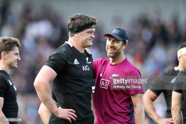Scott Barrett of the All Blacks is checked and congratulated by Strength and Conditioning Coach Nic Gill after the Bledisloe Cup match between the...