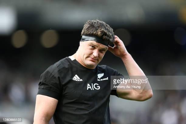Scott Barrett of the All Blacks looks on after the Bledisloe Cup match between the New Zealand All Blacks and the Australian Wallabies at Eden Park...