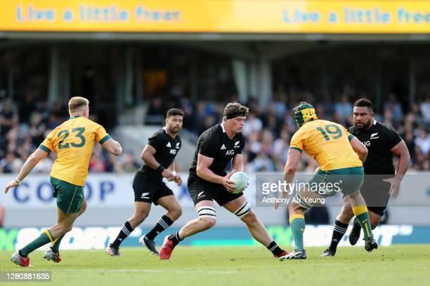 Scott Barrett of the All Blacks makes a run during the Bledisloe Cup match between the New Zealand All Blacks and the Australian Wallabies at Eden...