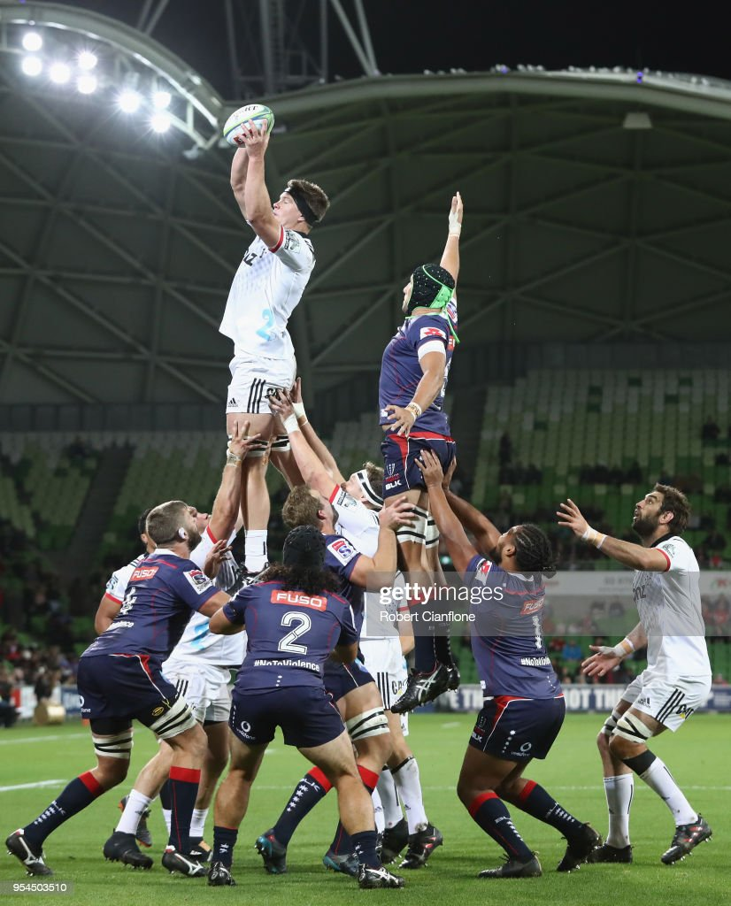 Scott Barrett of the Crusaders and Adam Coleman of the Rebels compete for the ball during the round 12 Super Rugby match between the Rebels and the Crusaders at AAMI Park on May 4, 2018 in Melbourne, Australia.