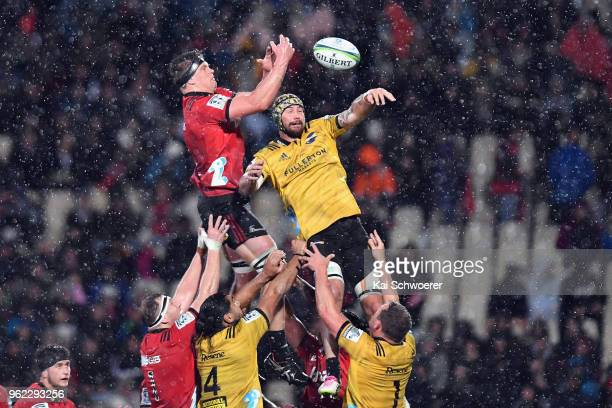 Scott Barrett of the Crusaders and Blade Thomson of the Hurricanes compete for a lineout during the round 15 Super Rugby match between the Crusaders...