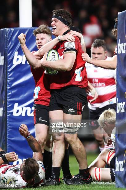 Scott Barrett of the Crusaders celebrates after scoring a try during the Super Rugby Final match between the Crusaders and the Lions at AMI Stadium...