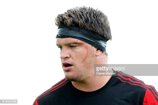 Scott Barrett of the Crusaders looks on ahead of the Super Rugby trial match between the Highlanders and the Crusaders at Fred Booth Park on February...