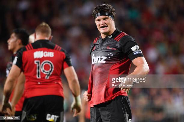 Scott Barrett of the Crusaders looks on during the round four Super Rugby match between the Crusaders and the Blues at AMI Stadium on March 17 2017...