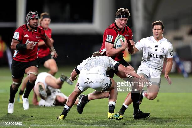 Mike Delany of the Crusaders looks on following the Super Rugby Qualifying Final match between the Crusaders and the Sharks at AMI Stadium on July 21...