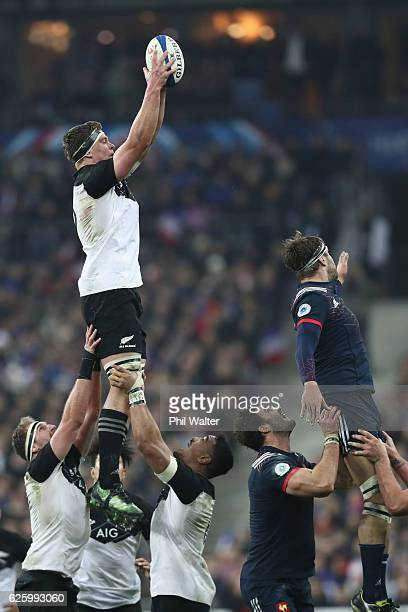 Scott Barrett of the New Zealand All Blacks takes the ball in the lineout during the international rugby match between France and New Zealand at...