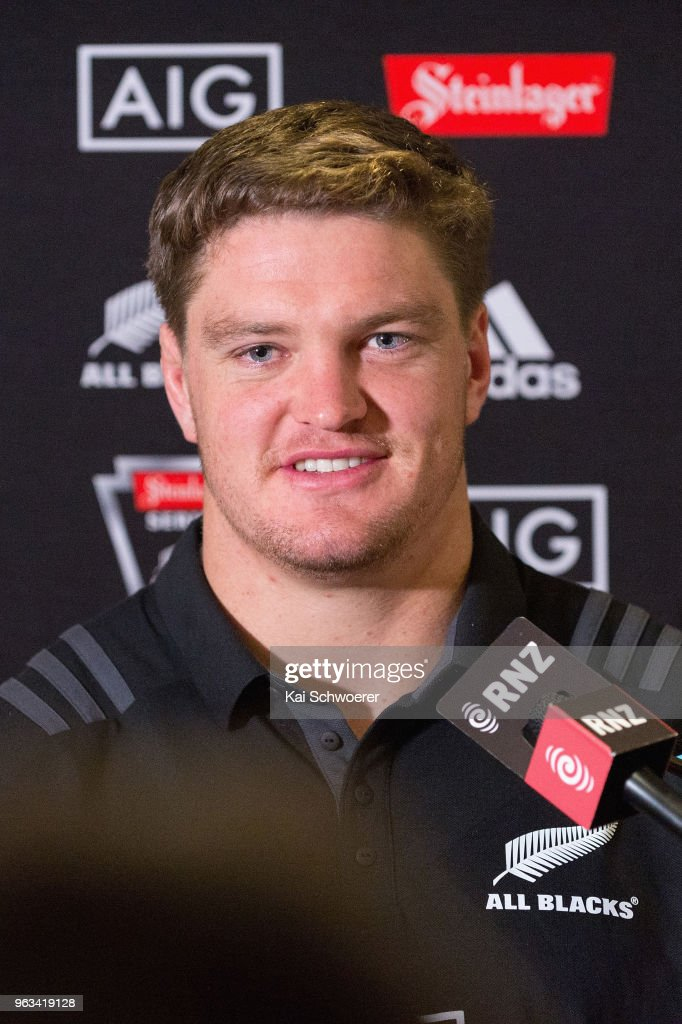 Scott Barrett speaks to the media during a New Zealand All Blacks press conference on May 29, 2018 in Christchurch, New Zealand.