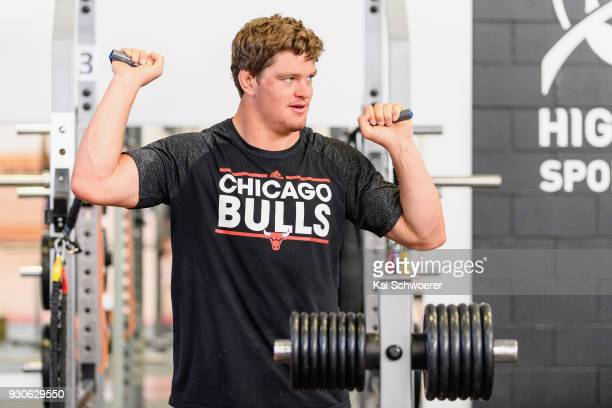 Scott Barrett works out during a New Zealand All Blacks gym session at the Apollo Projects Centre high performance training facility on March 12 2018...