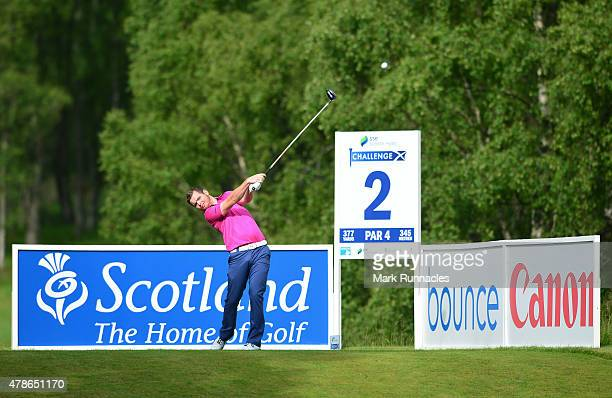 Scott Barrowman of Scotland on the 2nd tee during the second round of the 2015 SSE Scottish Hydro Challenge at the MacDonald Spey Valley Championship...