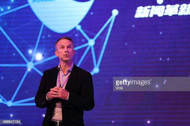 Scott Beaumont the manger director of Google Greater China speaks on the 2015 New Media Summit held by Sinacom at Sofitel Wanda Beijing Hotel on...