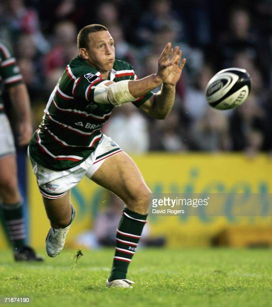 Scott Bemand of Leicester passes the ball during the pre-seaon friendly match between Leicester Tigers and Toulon at Welford Road on August 18, 2006...