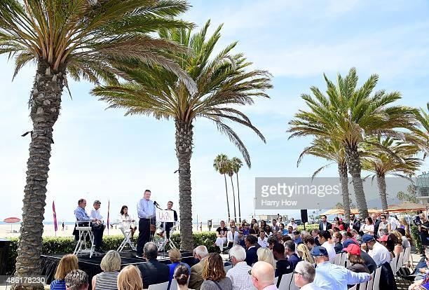Scott Blackmun along with Los Angeles Mayor Eric Garcetti, LA 2024 Chairman Casey Wasserman, Olympian Janet Evens, LA City Cuncil President Herb...