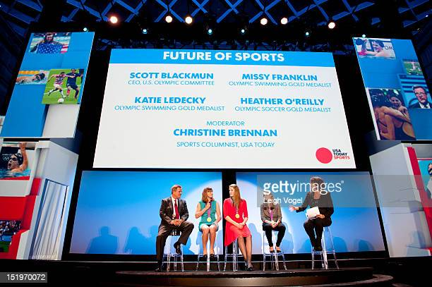 Scott Blakcman Katie Ledecky Missy Franklin Heather O'Reilly and Christine Brennan attend USA TODAY unveils new look as it celebrates the next 30...