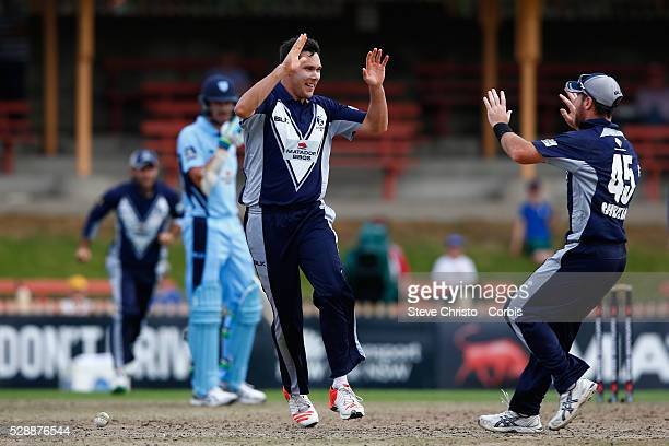 Scott Boland of the Bushrangers celebrates taking the wicket of Blue's Steve O'Keefe during the Matador BBQ's OneDay Cup between New South Wales...