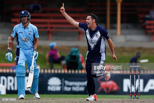 Scott Boland of the Bushrangers celebrates taking the wicket of Nathan Lyon and winning the match against the Blues in the Matador BBQ's OneDay Cup...