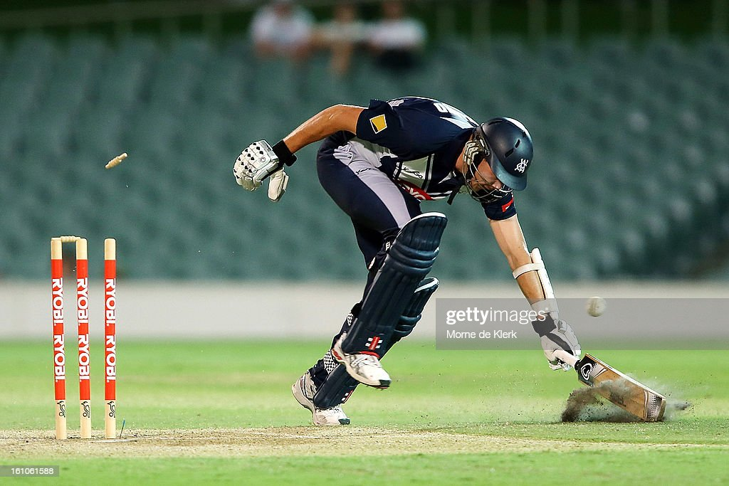 Scott Boland of the Bushrangers is run-out during the Ryobi One Cup Day match between the South Australian Redbacks and the Victorian Bushrangers at Adelaide Oval on February 9, 2013 in Adelaide, Australia.