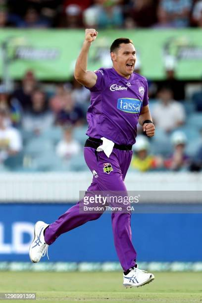 Scott Boland of the Hurricanes celebrates after claiming the wicket of Oliver Davies of the Thunder during the Big Bash League match between the...