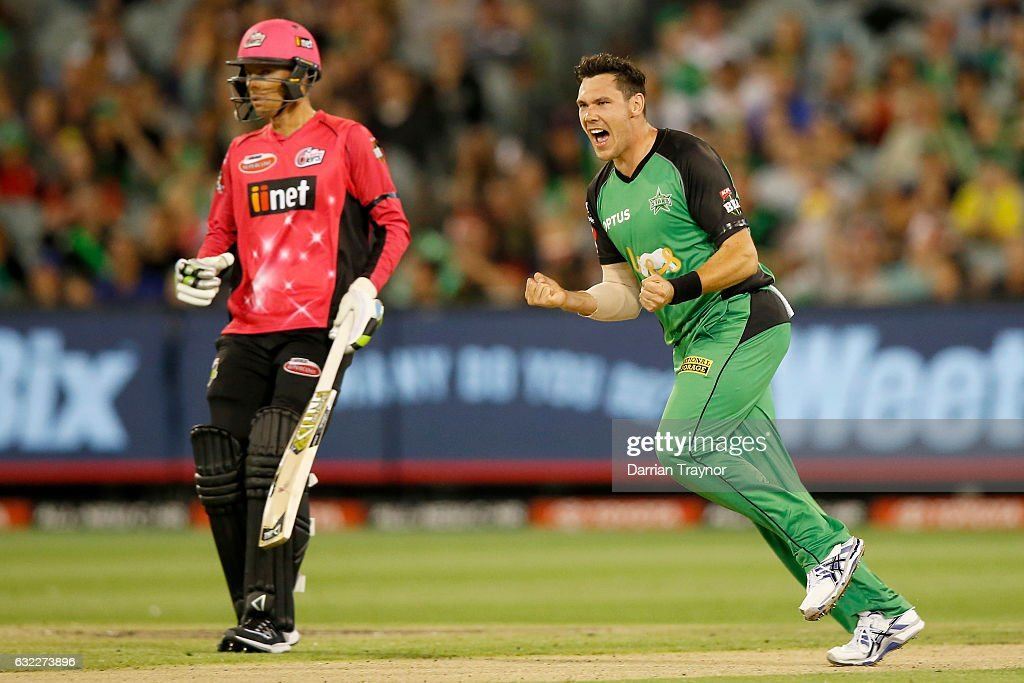 Scott Boland of the Melbourne Stars celebrates a wicket during the Big Bash League match between the Melbourne Stars and the Sydney Sixers at Melbourne Cricket Ground on January 21, 2017 in Melbourne, Australia.