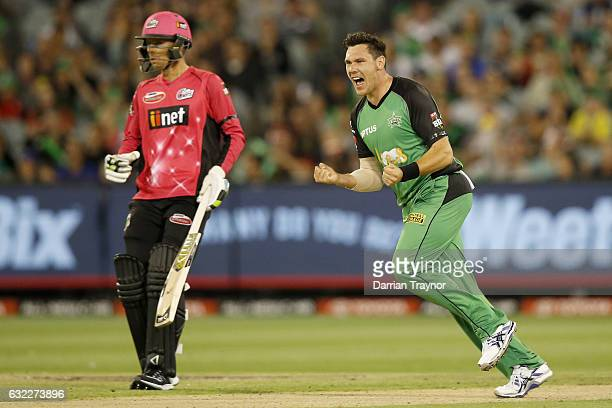 Scott Boland of the Melbourne Stars celebrates a wicket during the Big Bash League match between the Melbourne Stars and the Sydney Sixers at...
