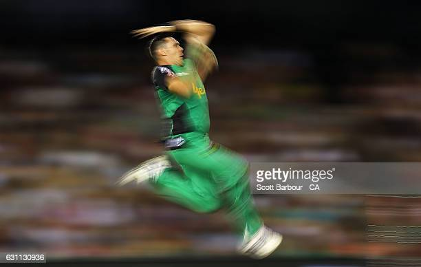 Scott Boland of the Stars bowls during the Big Bash League match between the Melbourne Renegades and the Melbourne Stars at Etihad Stadium on January...