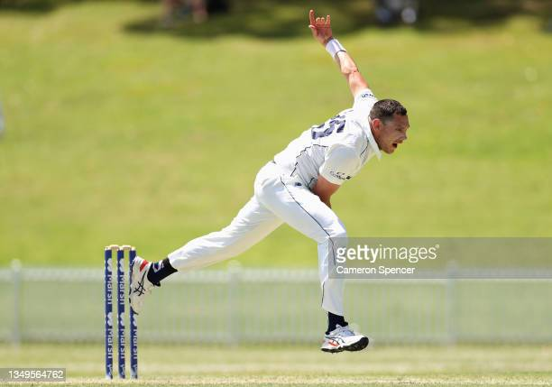 Scott Boland of Victoria bowls during day two of the Sheffield Shield match between New South Wales and Victoria at Drummoyne Oval, on October 28 in...
