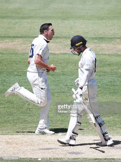 Scott Boland of Victoria celebrates a wicket of Will Bosisto of Western Australia during day four of the Sheffield Shield match between Victoria and...